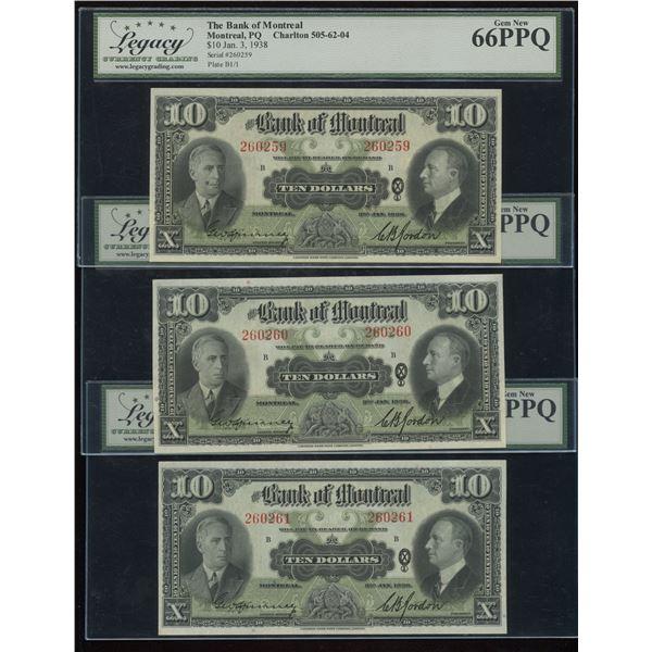 Bank of Montreal $10, 1938 - Lot of 3 Consecutives