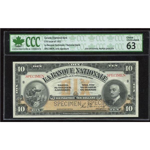 La Banque Nationale $10, 1922
