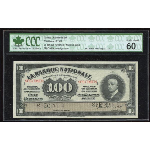 La Banque Nationale $100, 1922