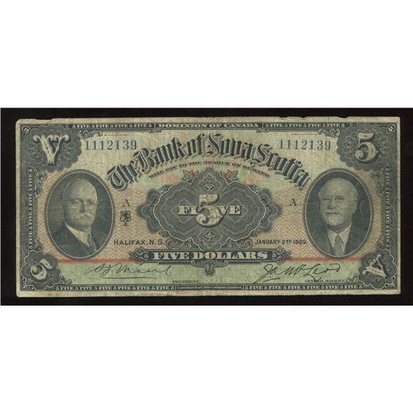 H. Don Allen Collection - Bank of Nova Scotia $5, 1929