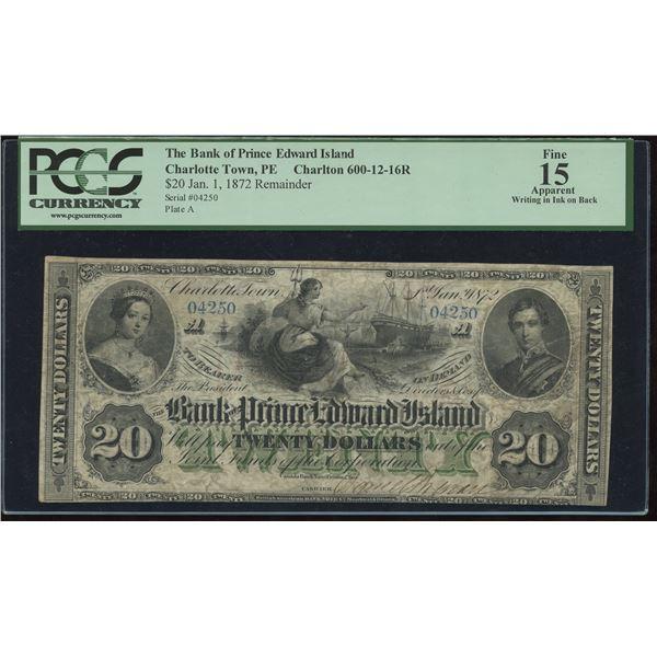 Bank of Prince Edward Island $20, 1872 - Remainder