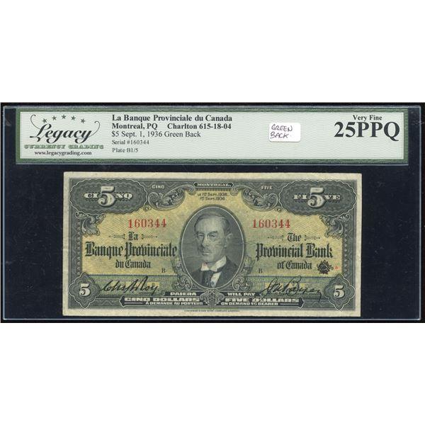 La Banque Provinciale du Canada $5, 1936 - Green Back