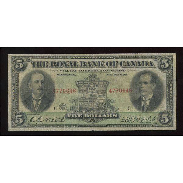 H. Don Allen Collection - Royal Bank of Canada $5, 1913