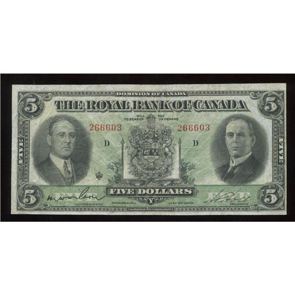 H. Don Allen Collection - Royal Bank of Canada $5, 1933