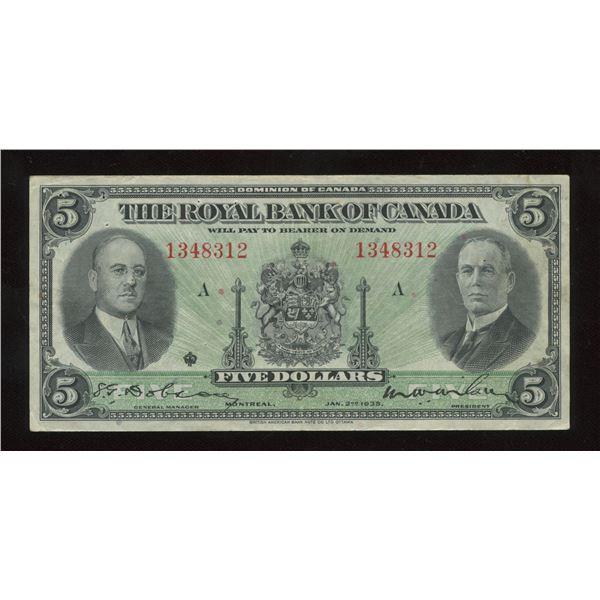 H. Don Allen Collection - Royal Bank of Canada $5, 1935