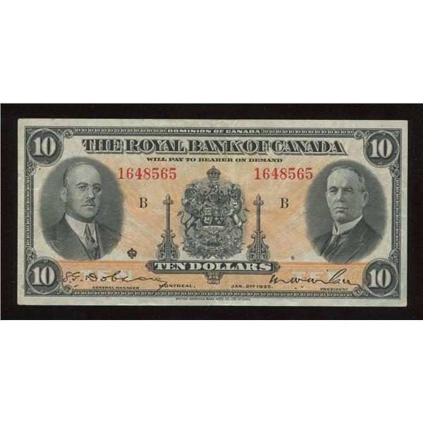 H. Don Allen Collection - Royal Bank of Canada $10, 1935