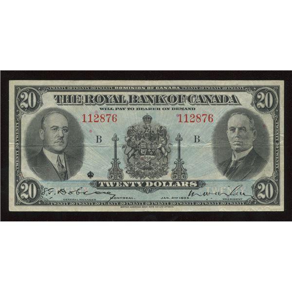 H. Don Allen Collection - Royal Bank of Canada $20, 1935