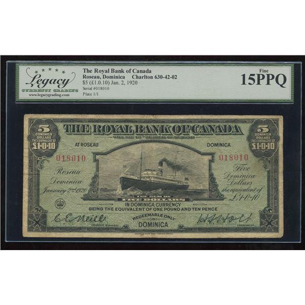 Royal Bank of Canada $5 1920 - DOMINICA
