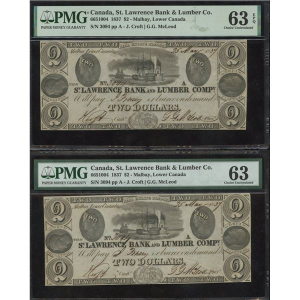 The St. Lawrence Bank & Lumber Company, Two Dollars, 1837