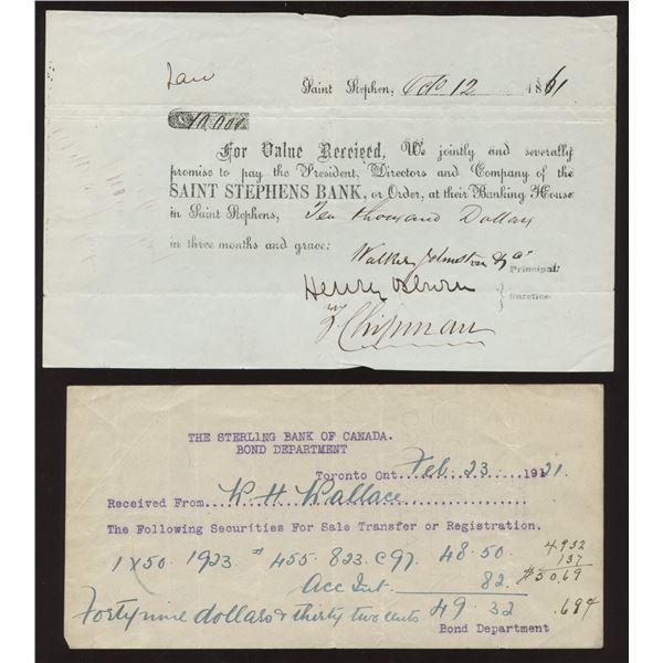 H. Don Allen Collection - St. Stephens Bank & Bank of Toronto Blotter