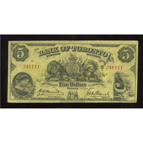 H. Don Allen Collection - Bank of Toronto $5, 1937