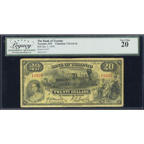 Bank of Toronto $20, 1935