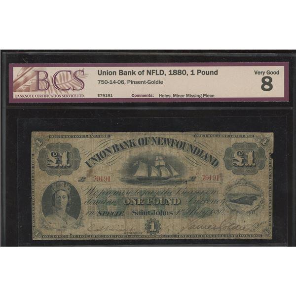 Union Bank of Newfoundland One Pound, 1880