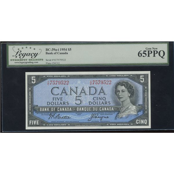 Bank of Canada $5, 1954 Transitional Prefix