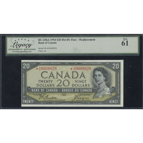 Bank of Canada $20, 1954 Devil's Face Replacement