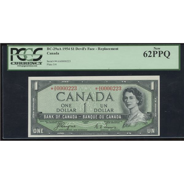 Bank of Canada $1, 1954 Devil's Face Replacement - Rare