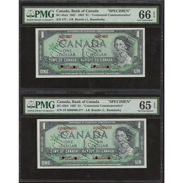 Bank of Canada $1, 1967 Specimen Pair