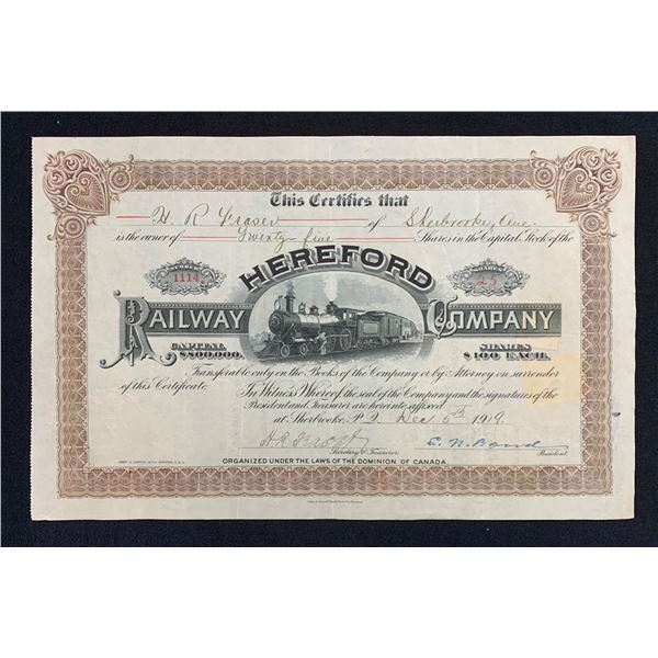 Hereford Railway Stock Certificate, Quebec, 1919