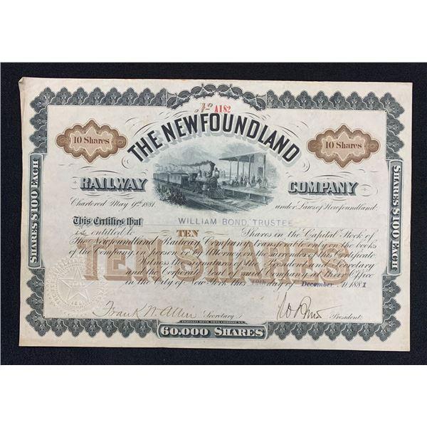 Newfoundland Railway Company Stock Certificate, 1881