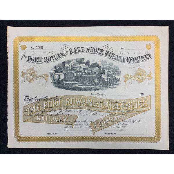 Port Rowan and Lake Shor Railway, 1880s