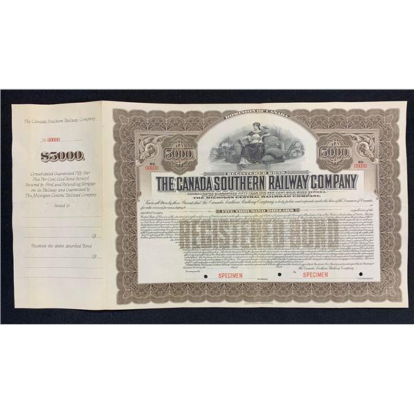 Canada Southern Railway Bond Certificate Specimen, 1912