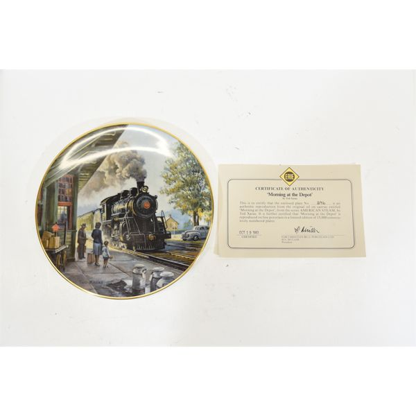 Five Miscellaneous Collectible Train Plates By Christian Bell Porcelain Ltd.