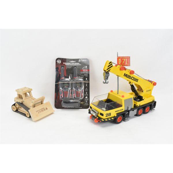 Playmobil Crane, Wooden Tonka Dozer, 2 Cobra Walkie-Talkies