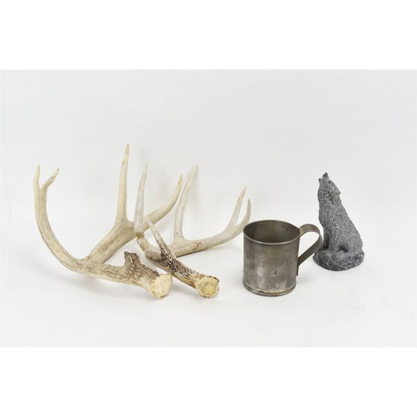 Soapstone Carved Wolf, Tin Cup, Goose Quaker, Rattling Antlers