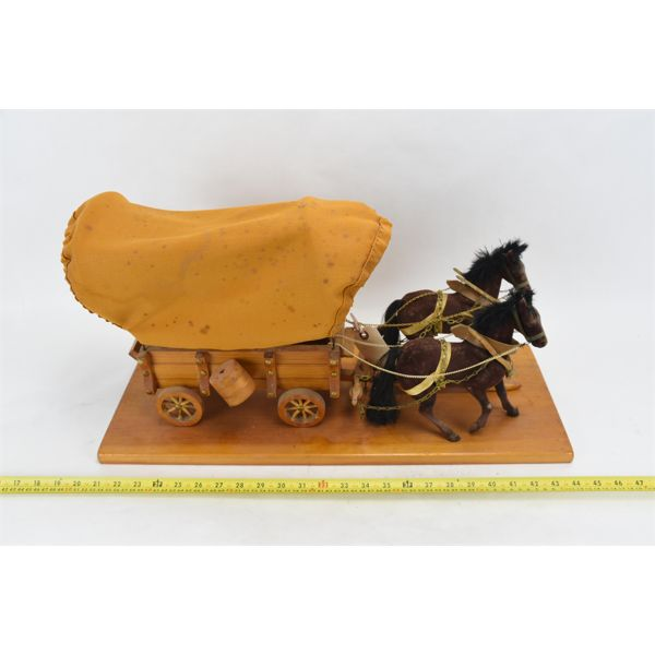 Handcrafted Covered Wagon w/ Team of Horses