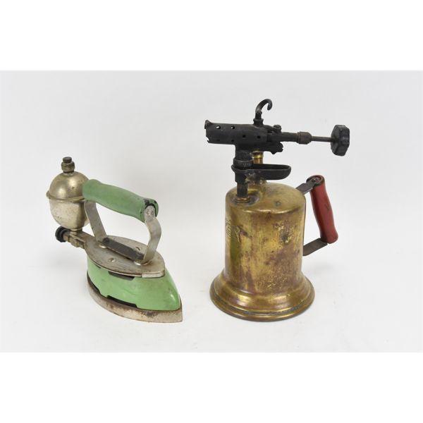 Gasoline Brass Torch 1921 & Coleman Iron