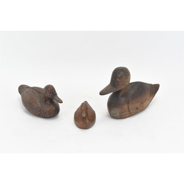 3 Loose Hand Carved Ducks