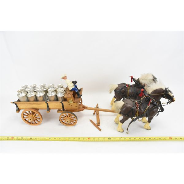 Handcrafted Milk Wagon w/ Team Of Horses