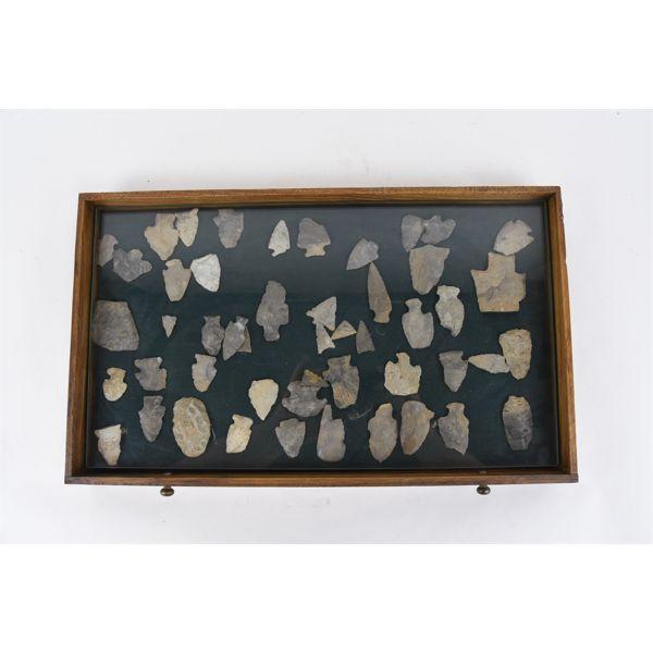 Tray Of Arrow Heads, Scraper, Tools,