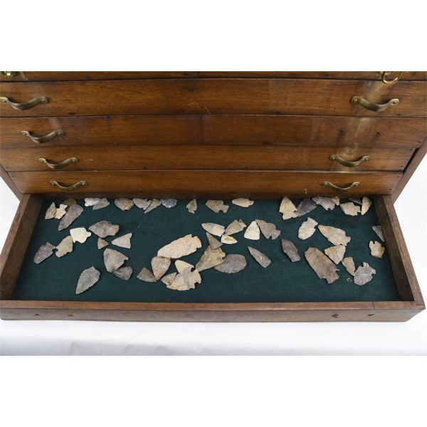 Tray Arrow Heads, Tools And Scrapers w/ Handcrafted Storage Case