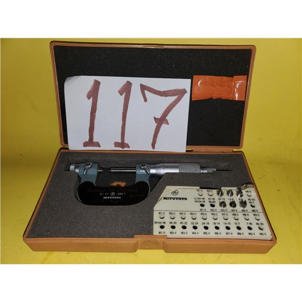 """MITUTOYO THREAD PITCH MICROMETER NO. 126-137 0-1"""" .001"""""""
