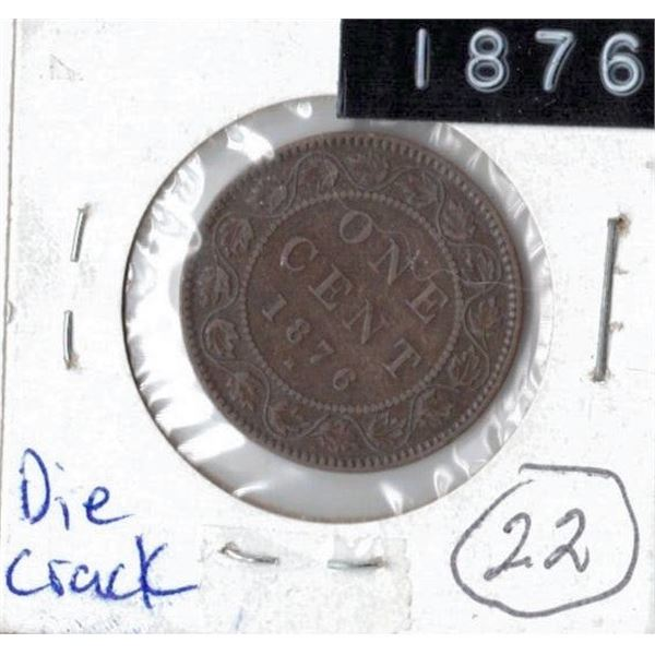 1876 Large Canadian One Cent