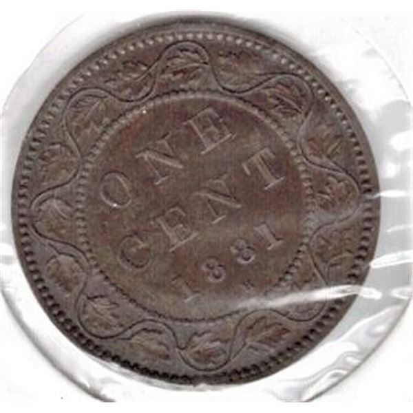 1881 H Large Canadian One Cent - Double Die