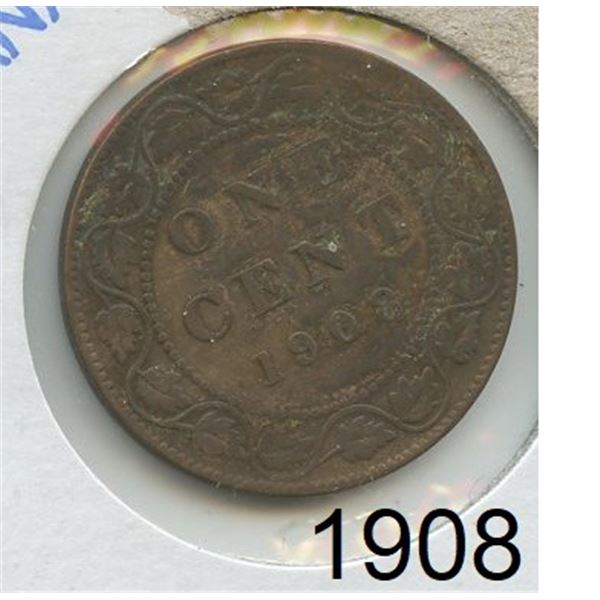 1908 Large Canadian One Cent