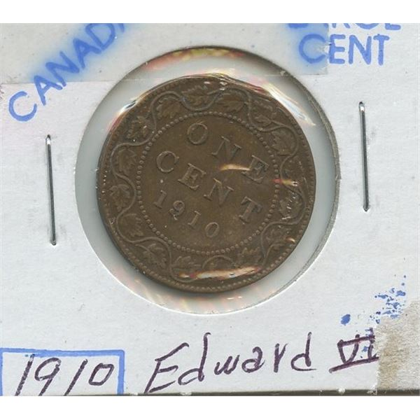 1910 Large Canadian One Cent