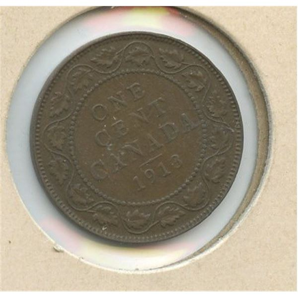 1913 Large Canadian One Cent