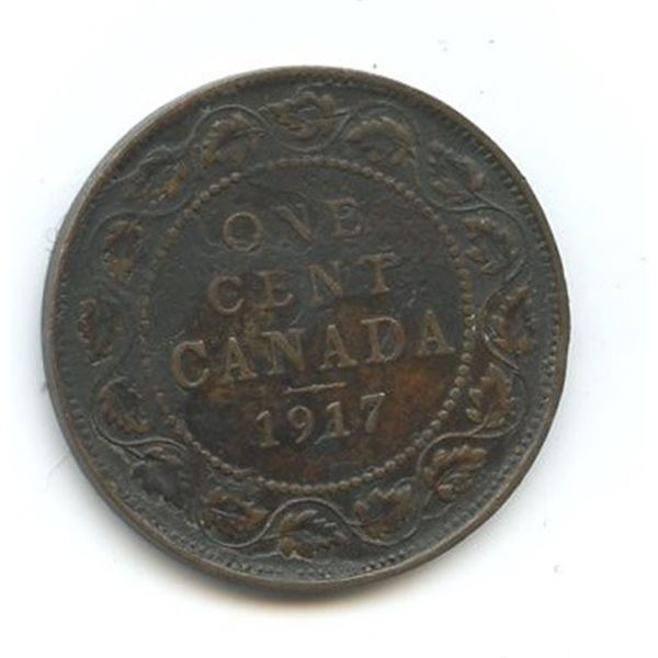 1917 Large Canadian One Cent