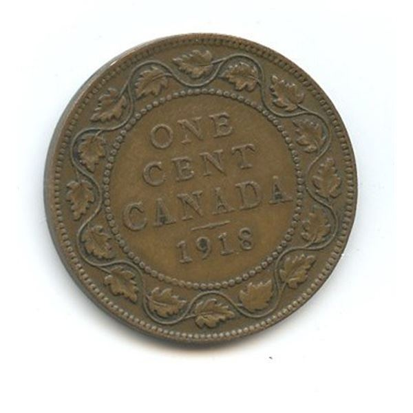1918 Large Canadian One Cent