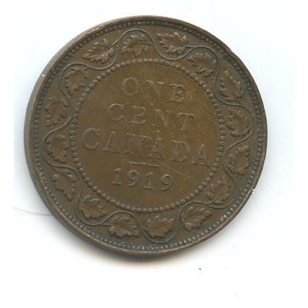 1919 Large Canadian One Cent
