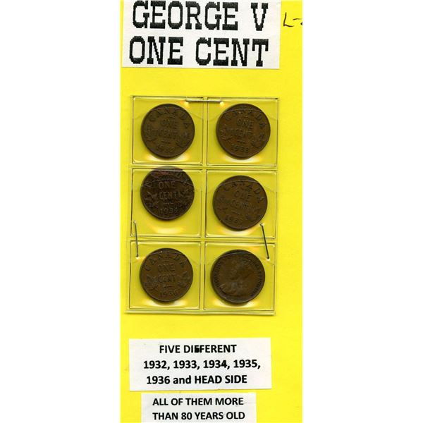 George V One Cent 1932 to 1936 and Extra One to show the Head Side
