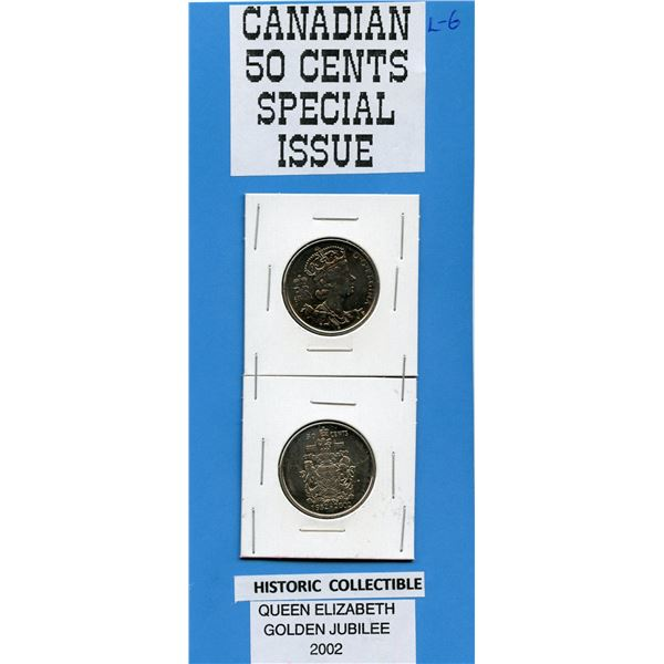 TWO COINS Special Issue Canadian 50 Cents, 2002 Honoring Queen's Golden Jubilee