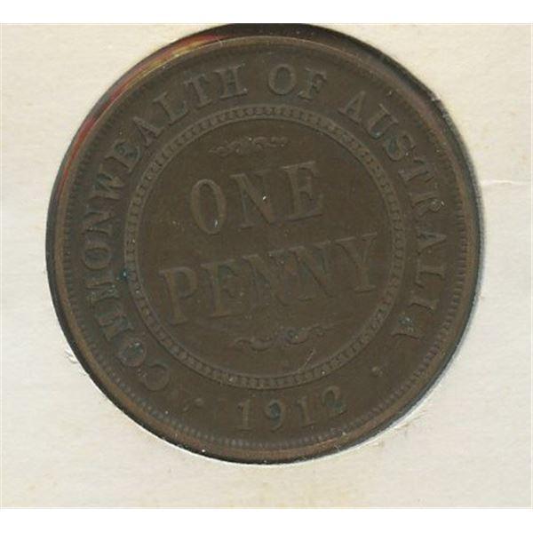 1912 H One Penny Australian low mintage 3,000,000
