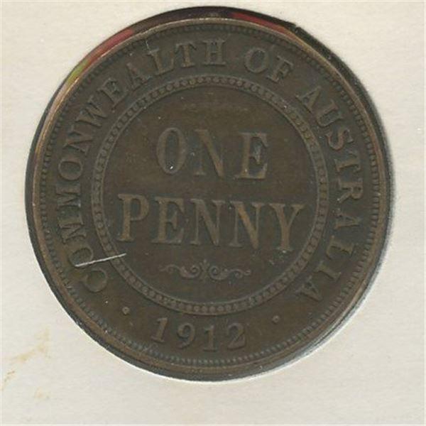 1912 One Penny Australian low mintage 3,600,000