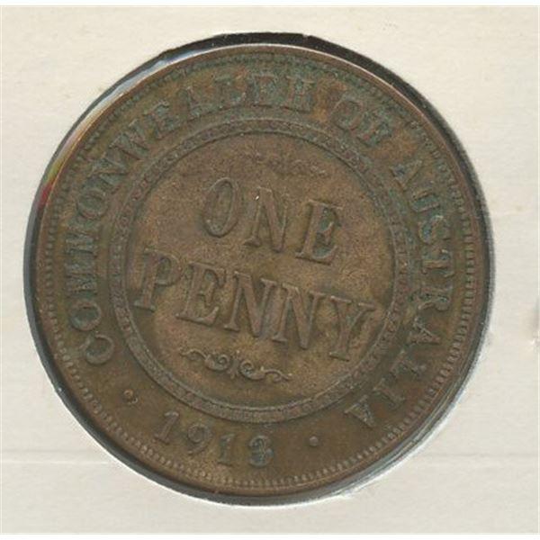 1913 One Penny Australian low mintage 2,520,000