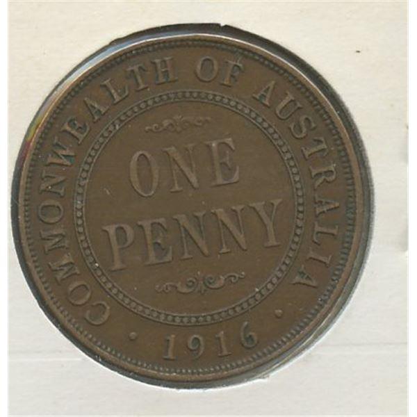 1916 I OnePenny Australian low mintage 3,324,000