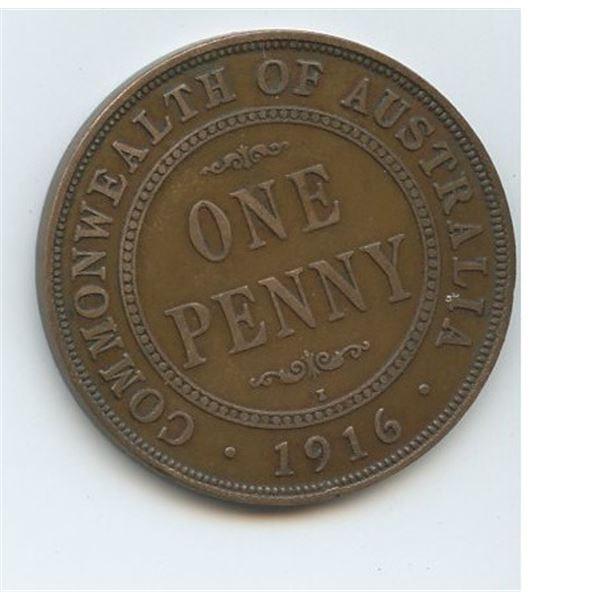 1916 I One Penny Australian low mintage 3,324,000